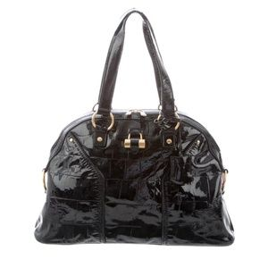 Yves Saint Laurent Black Croc Emboss Leather Muse